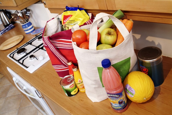 reusable bag with food shopping in