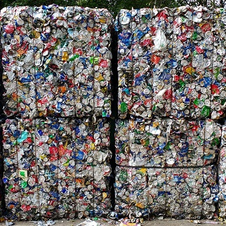 Cans ready for recycling
