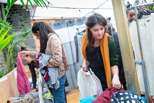 Woman at a clothes swap
